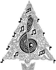 Description: A treble clef worked into a tree of celtic knotwork, adorned with musical-note baubles.
